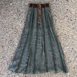 Green Maxi Skirt - lined